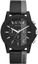 Armani Exchange Men's Black Silicone Strap Watch