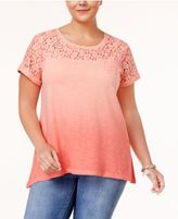 Style&Co. Style & Co Plus Size Lace-Yoke Dip-Dyed Top, Only at Macy's