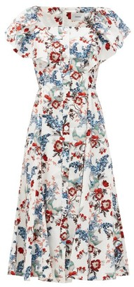 Erdem Maudie Ruffled Bird Blossom-print Cotton Dress - White Print