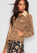 Missy Empire Amie Brown Cord Faux Shearling Jacket