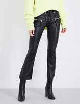Unravel Lace-front flared leather trousers