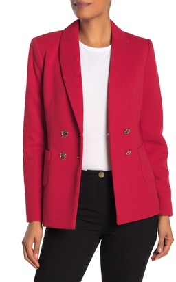 Modern American Designer Solid Double-Breasted Notch Lapel Knit Blazer