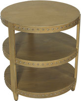 Worlds Away Nora Studded Side Table, Natural