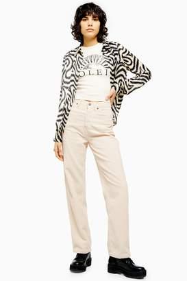 Topshop Womens Ecru Corduroy Parallel Jeans - Ecru