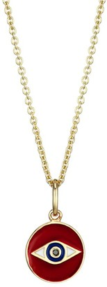 Sydney Evan 14K Yellow Gold, Red Enamel & Diamond Tiny Evil Eye Medallion Pendant Necklace