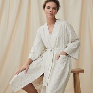 The White Company Cotton-Rich Herringbone Star Robe, White Grey, Extra Small