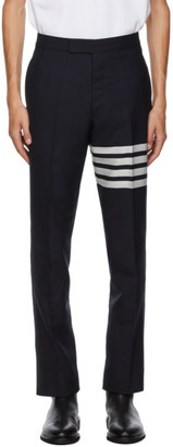 Thom Browne Navy 4-Bar Backstrap Trousers