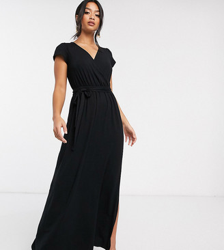 ASOS DESIGN Petite tie waist wrap front maxi dress in black