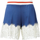 MM6 MAISON MARGIELA lace trim shorts - women - Cotton/Polyamide/Viscose - S