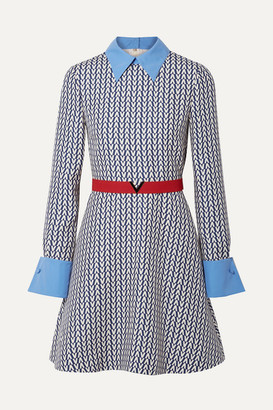Valentino Belted Poplin-trimmed Printed Wool And Silk-blend Mini Dress - Blue