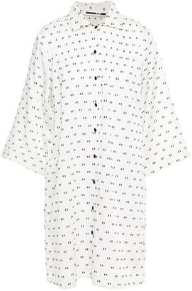McQ Pintucked Fil Coupe Silk-blend Mousseline Mini Shirt Dress