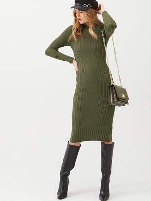 River Island Roll Neck Bodycon Cable Knitted Dress-khaki
