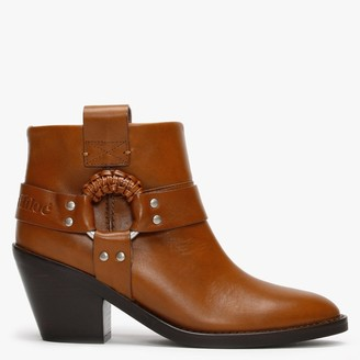 See by Chloe F Eddie Tan Leather Western Ankle Boots
