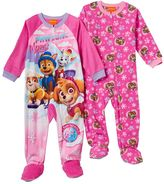 Toddler Girl Paw Patrol Chase, Marshall, Rubble & Skye 2-pk. Footed Pajamas