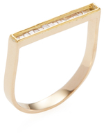 Maiyet 18K Yellow Gold & 0.24 Total Ct. Diamond Single Baguette Bar Ring