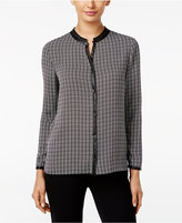 Alfani Printed Faux-Leather-Trim Blouse, Only at Macy's
