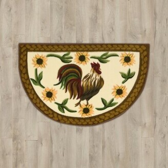 BEIGE August Grove Lyn Arcylic Rooster Area Rug August Grove