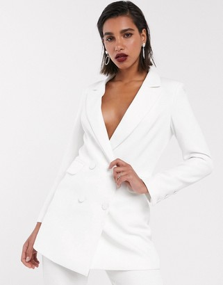 Asos Edition EDITION slim double breasted wedding blazer-White