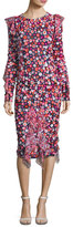 Michael Kors Floral-Embroidered Bias-Ruffle Dress, Multi