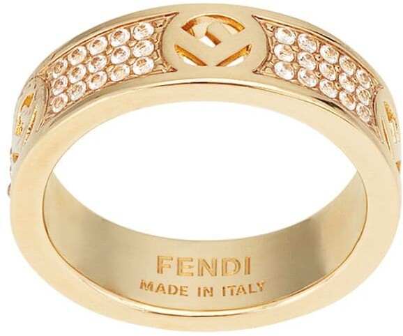 Fendi Crystal Detail Monogram Ring