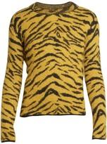 Saint Laurent Mohair & Wool Animal Print Crewneck Sweater