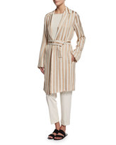 The Row Stervis Striped Jacket W/Belt, Blush/Ivory Stripe