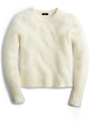 J.Crew Puff Sleeve Fuzzy Crewneck Sweater