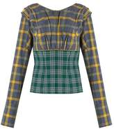 Natasha Zinko Plaid pleated cotton top