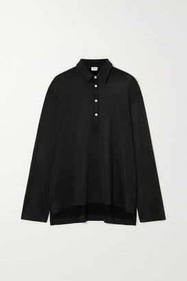 Leset Fallon Stretch-satin Shirt - Black