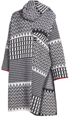 Stella McCartney Zigzag Virgin Wool Scarf Cape Cardigan