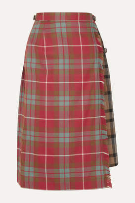 Andersson Bell - Buckled Asymmetric Paneled Pleated Checked Wool Skirt - Red