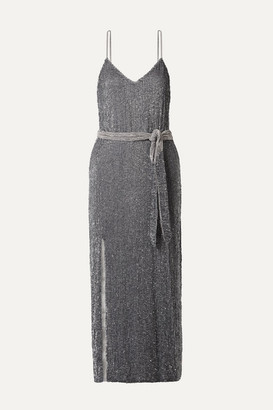 retrofete Rebecca Velvet-trimmed Sequined Chiffon Midi Dress