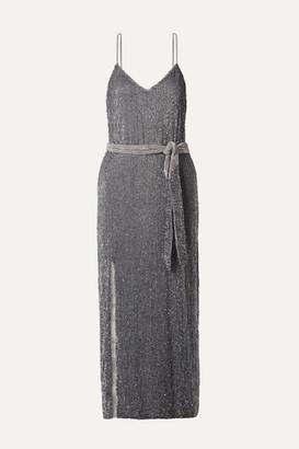 retrofete Rebecca Velvet-trimmed Sequined Chiffon Midi Dress - Gray