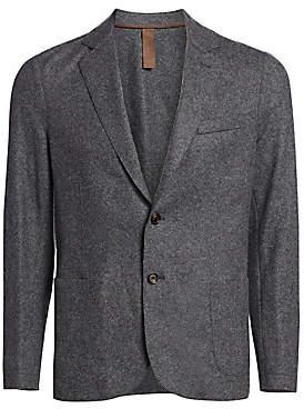 Eleventy Men's Slim-Fit Laser-Cut Notch Lapel Flannel Wool Two-Button Jacket