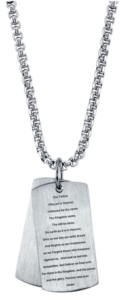 He Rocks Our Father Prayer Dog Tag Pendant Necklace, 24""