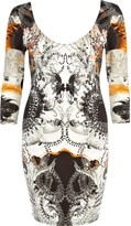 River Island Womens Orange abstract embellished bodycon dress