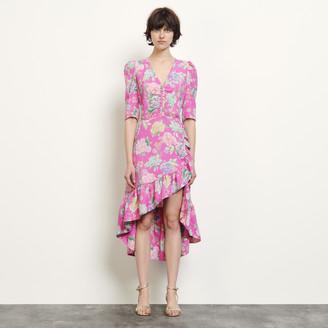 Sandro Long asymmetric jacquard dress