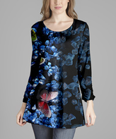 Lily Black & Blue Butterfly Abstract Scoop Neck Tunic - Plus Too