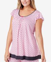 Ellen Tracy Plus Size Flutter-Sleeve Printed Pajama Top