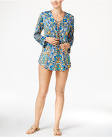 Bar III Monarchy Printed Lace-up Tunic Cover-Up, Created for Macy's Women's Swimsuit