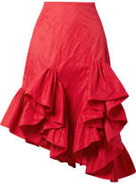 Marques Almeida Marques' Almeida - Asymmetric Ruffled Crinkled-taffeta Skirt - Red