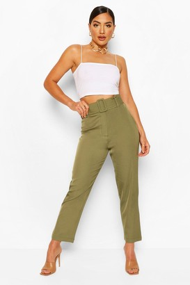 boohoo Wide Buckle Belt Tailored Trouser