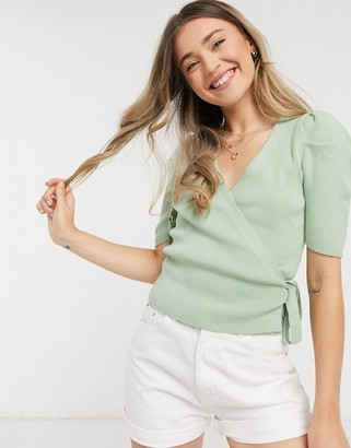 ASOS DESIGN wrap top with puff shoulder in green