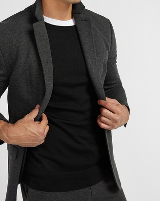 Express Classic Solid Charcoal Luxe Comfort Soft Suit Jacket