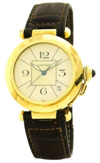 Cartier Pasha 2771 18K Yellow Gold & Leather Automatic 38mm Men's Watch