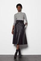 Leather Tie Waist Midi Skirt