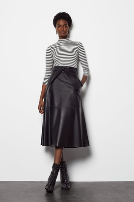 Karen Millen Leather Tie Waist Midi Skirt