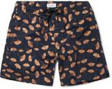 Saturdays NYC Timothy Ginkgo Mid-length Printed Swim Shorts - Navy