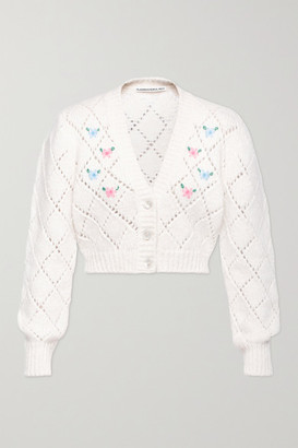 Alessandra Rich Cropped Embroidered Pointelle-knit Alpaca-blend Cardigan - White