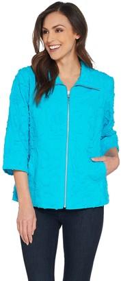 Susan Graver Cotton Soutache Zip-Front Jacket